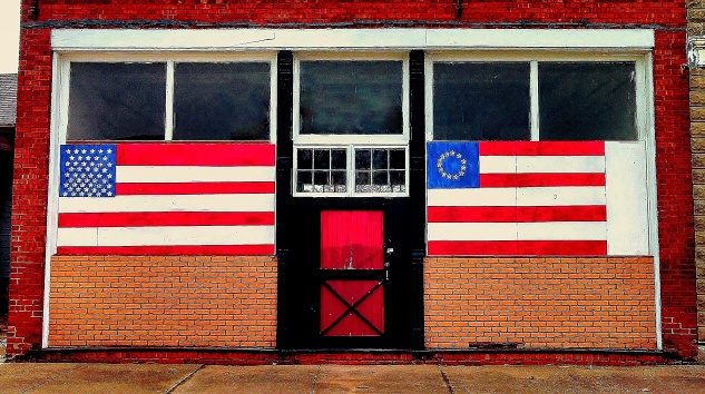 red white and blue storefront